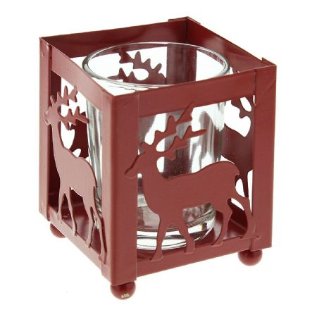 Square Red Metal Christmas Candle Holder with Reindeer Design